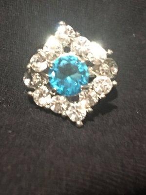 Srebrny pierścionek srebrny-niebieski