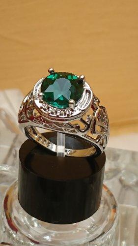 Silber Ring 925 filigran mit Zirkonia und grünen Stein Gr.18