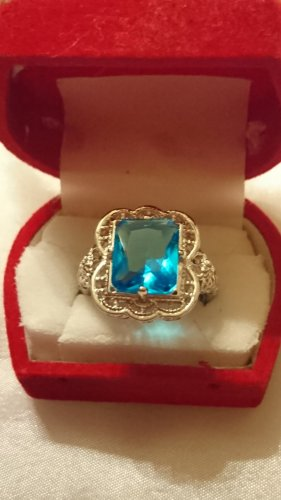 Silber Ring 925 - Gr.19 mit Stein filigran - antik Look