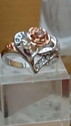 Silber Ring 925 mit goldene Rose Gr.17