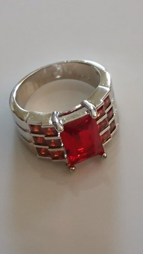 Silver Ring silver-colored-red