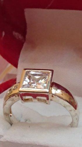 Silber Ring aus 925 facetiert mit Zirkonia Steine Gr.18