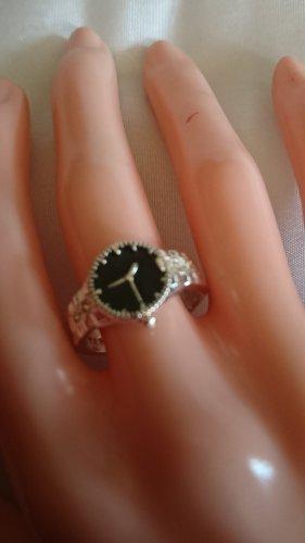 Silber Ring aus 925 -Gr.18 mit schwarz emaillierte Uhr