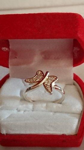 Silber Ring aus 925 Schmetterling   mit Zirkonia Steine Gr.18