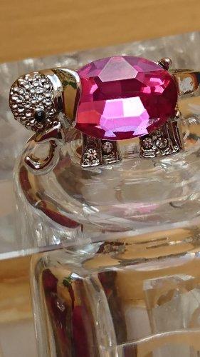 Silber Ring Elefant mit Saphir und Zirkonia Gr.17 Handarbeit