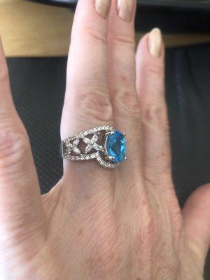 Srebrny pierścionek jasnoniebieski