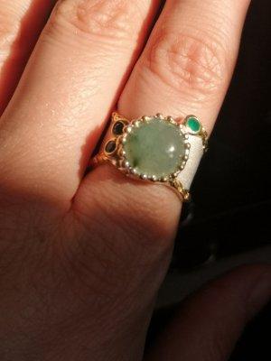Silber Ring, grün Jade