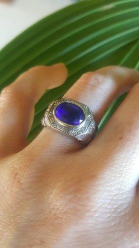 Silber Ring mit blauem Stein 925 Sterling silber Größe 60