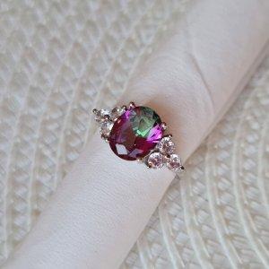 silber Ring mit einem großen regenbogen Topas, Größe 54 / 17,2mm