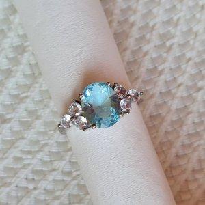925er Silber Bague en argent argenté-bleu azur