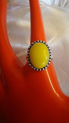 Silber Ring mit gelben Naturstein  Gr.18
