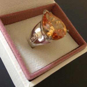 Silber-Ring mit orangefarbenem Stein