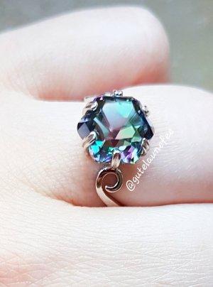 Silber Ring mit regenbogen mystic Topas 925 Silber gestempelt / Größe 51 (16,4mm)