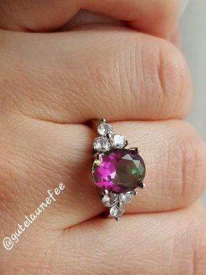 Silber Ring mit regenbogen mystic Topas grün-lila 925 Sterling Silber gestempelt Größe 54