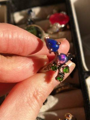 Anello d'argento blu-verde