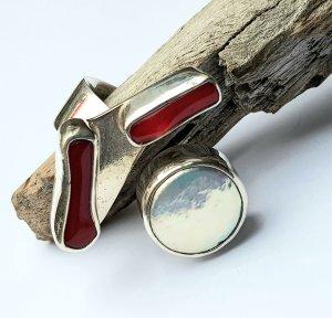 Silber Ring Perle & Rote Koralle - extravagant & exklusiv - Gr 58 NEU von DIVA
