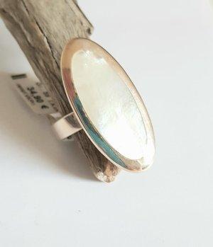Silber Ring - Perlmutt Oval - Gr 59 - NEU - 925er Sterlingsilber