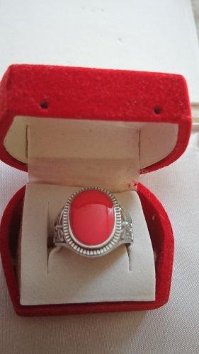 Silber Ring pink emailliert mit Gravur Gr.19,5.