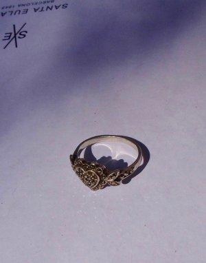 Silber Ring: vintage Herz m Marquesiten, 925er