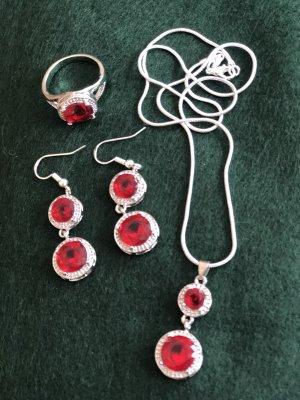 925er Silber Parure bijoux argenté-rouge