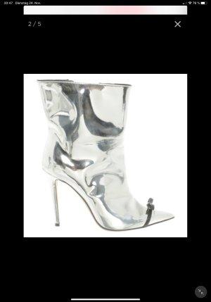 Marco De Vincenzo Wciągane buty za kostkę srebrny Skóra