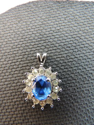 Pendant silver-colored-cornflower blue