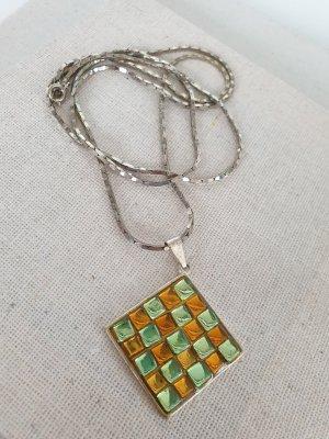 Silberfarbene Kette Anhänger Orange Grün Halsschmuck Halskette Schmuck