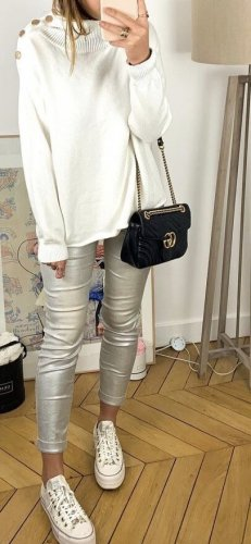 H&M Divided Faux Leather Trousers silver-colored polyurethane