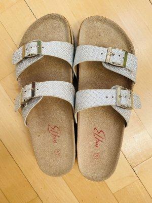 Wygodne sandały srebrny-jasnoszary
