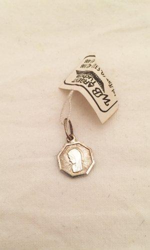 Silberfarbener achteckiger Anhänger mit Heiliger Maria Vintage 925er Silber