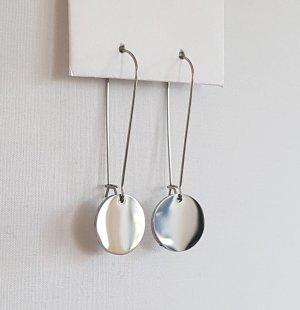 Silberfarbener Ohrhänger mit Plättchen (Handgemacht)