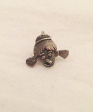 Silberfarbener Pin / Ohrring / Brosche in Form von Gesicht mit spitzer Nase