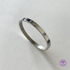 ♈️ Silberfarbenes Armband mit weißem CZ-Stein -4mm