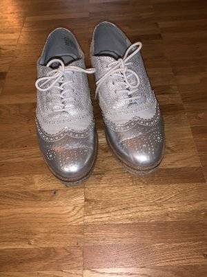 Marco Tozzi Wingtip Shoes light grey-silver-colored