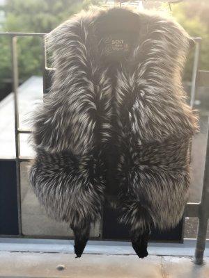 Fur vest silver-colored-black