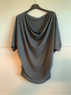 Made in Italy Cowl-Neck Shirt silver-colored-grey cotton