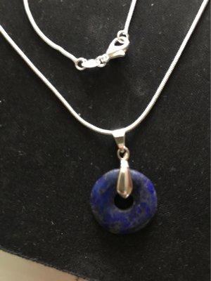 Srebrny łańcuch srebrny-ciemnoniebieski