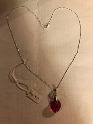 Silberkette  925 & Swarowski Herz Anhänger/ Neu / Geburtsstein : rot / Gebutsmonat : Januar