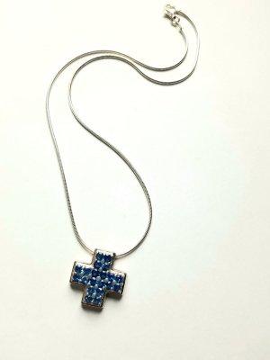 """Silberkette mit Anhänger Kreuz """"Swarovski"""" blau in Silberfassung - Neu"""