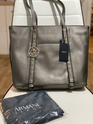 Armani Jeans Shopper zilver Leer