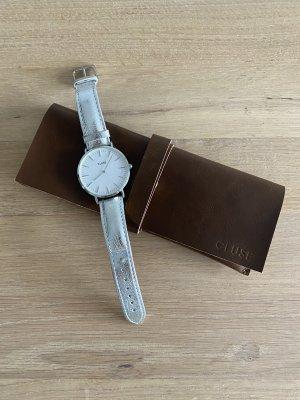 Cluse Horloge met lederen riempje zilver