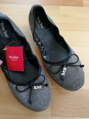 Young Spirit Foldable Ballet Flats black-silver-colored