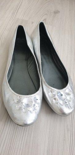 Topshop Ballerina di pelle verniciata argento