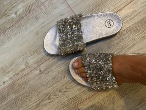 Beach Sandals silver-colored