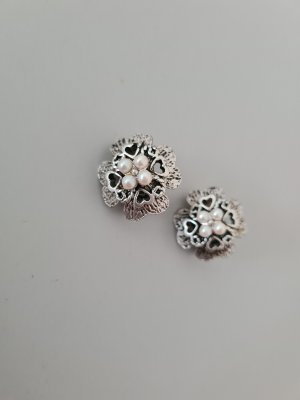 Vintage Earclip silver-colored-white