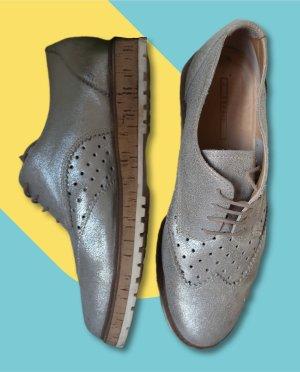 Silberne glänzender Leder Budapester Brogues Oxford Schnürschuhe Schuhe Esprit 40