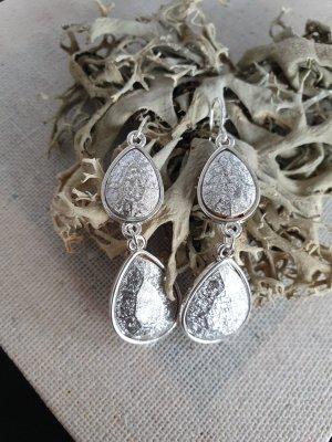 Silberne Glitzer Tropen Ohrringe Edel Elegant Neu Ohrschmuck