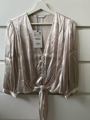 Silberne graue locker oversize Bluse von Zara M 38