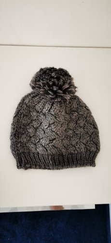 keine Marke Knitted Hat silver-colored wool