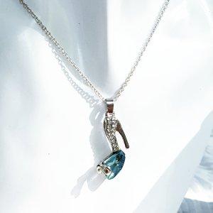 Zdobiony naszyjnik srebrny-jasnoniebieski